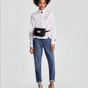 Zara White Poplin Long Sleeve Shirt